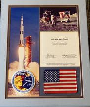 Apollo 17 FLOWN US Flag and Patch