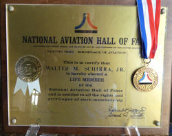 National Aviation Hall of Fame Medal presented to Wally Schirra